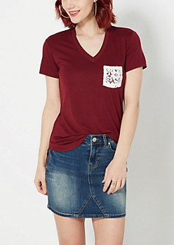 Burgundy Floral Pocket V-Neck Tee