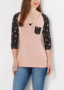 Pink Bouquet Henley Raglan Top