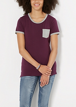 Plum Mini Pocket Tee