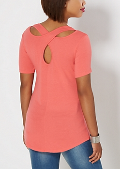 Coral Cross-Back Pocket Tee