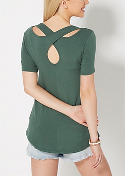 Dark Green Cross-Back Pocket Tee