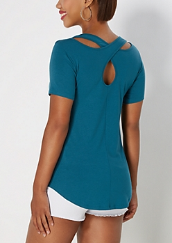Teal Cross-Back Pocket Tee