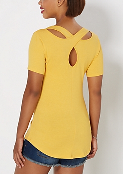 Mustard Cross-Back Pocket Tee