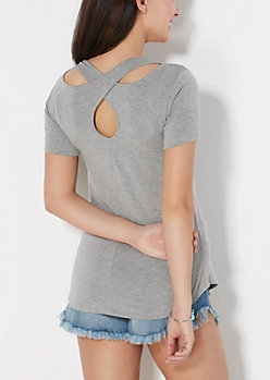 Heather Gray Cross-Back Pocket Tee