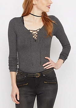 Charcoal Wide Ribbed Lace-Up Top