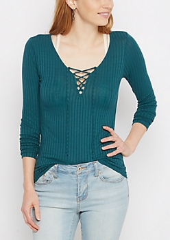 Teal Wide Ribbed Lace-Up Top