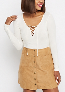 White Wide Ribbed Lace-Up Top