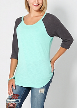 Mint & Gray Thermal Baseball Tee