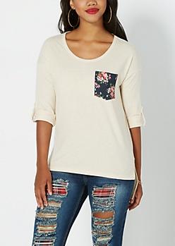 Floral Pocket High-Low Top