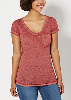 Burgundy Burnout V-Neck Tee