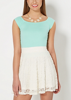 Mint Ribbed Boat-Neck Tee