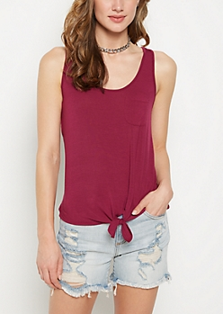 Plum Knotted Tank Top