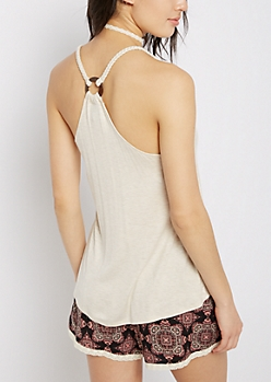 Oatmeal Heather Wooden Ring Braided Tank Top
