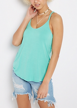 Mint Wooden Ring Braided Tank Top