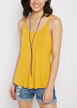 Yellow Wooden Ring Braided Tank Top