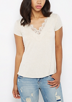Oatmeal Heather Lace Neck Tee