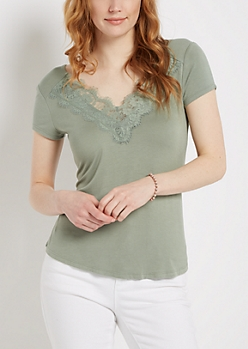 Light Green Lace Neck Tee