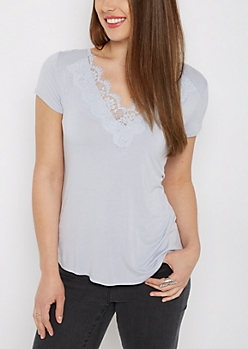 Light Blue Lace Neck Tee