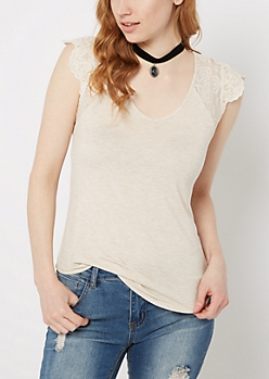 Oatmeal Heather Lace Sleeve Raglan Tee