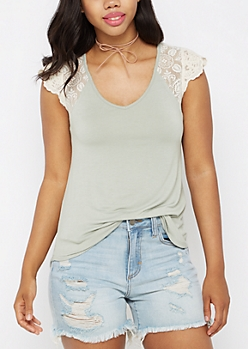 Light Green Lace Sleeve Raglan Tee