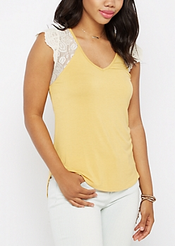 Yellow Lace Sleeve Raglan Tee