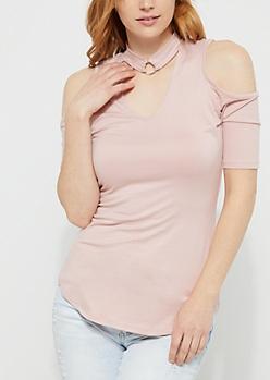 Pink Cold Shoulder O Ring Soft Knit Top