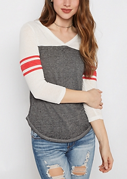 Charcoal V-Neck Color Block Gridiron Tee