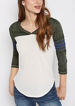Light Olive V-Neck Color Block Gridiron Tee