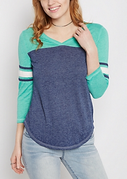 Mint V-Neck Color Block Gridiron Tee