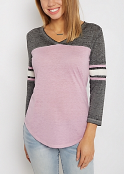 Violet V-Neck Color Block Gridiron Tee