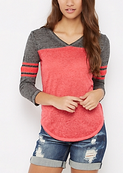Red V-Neck Block Gridiron Tee