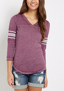 Purple V-Neck Burnout Gridiron Tee