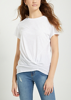 White Marled Side Knot Tee
