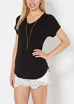 Black Crochet Back Pocket Tee