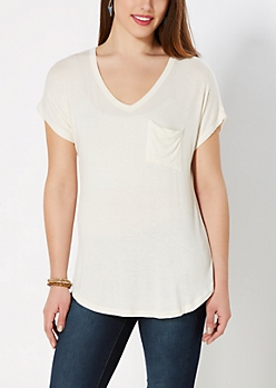 Ivory Crochet Back Pocket Tee
