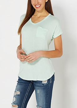 Light Green Crochet Back Pocket Tee