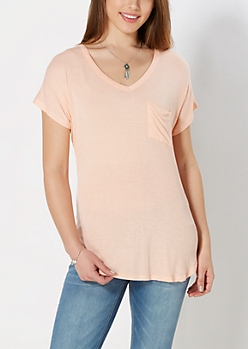 Peach Crochet Back Pocket Tee
