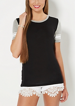 Black Mesh Striped Blocked Tee