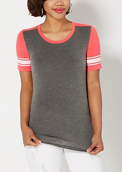 Fuchsia Mesh Striped Blocked Tee