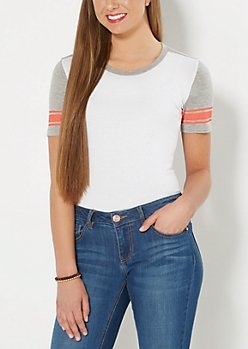 White Mesh Striped Blocked Tee