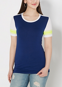 Navy Mesh Striped Blocked Tee