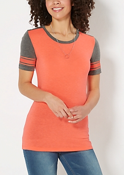 Neon Orange Mesh Striped Blocked Tee