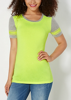 Neon Yellow Mesh Striped Blocked Tee