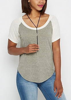 Heathered Olive & Ivory Baseball Tee