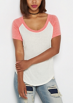 Heathered Coral & Ivory Baseball Tee