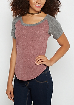 Heathered Burgundy & Gray Baseball Tee