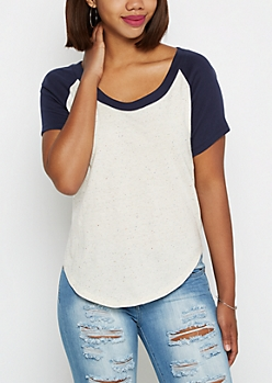 Speckled Color Block Raglan Tee