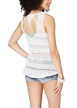 White Caged Crochet Back Tank