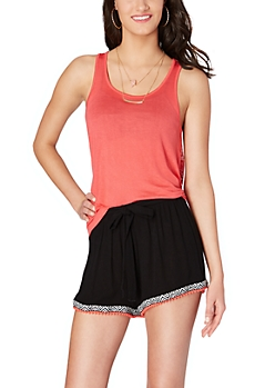 Coral Caged Crochet Back Tank