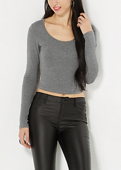 Heather Gray Long Sleeve Crop Top